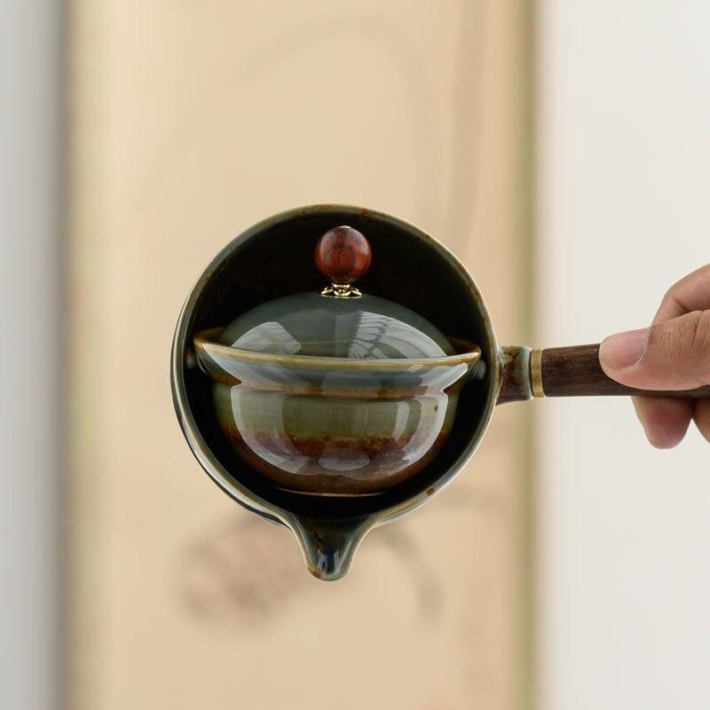 السيراميك الكونغ فو طقم شاي بعد الظهر الشاي مكتب المنزل بسيط التلقائي ماكينة إعداد الشاي المحمولة السفر طقم شاي أكواب شاي وطبق مجموعات