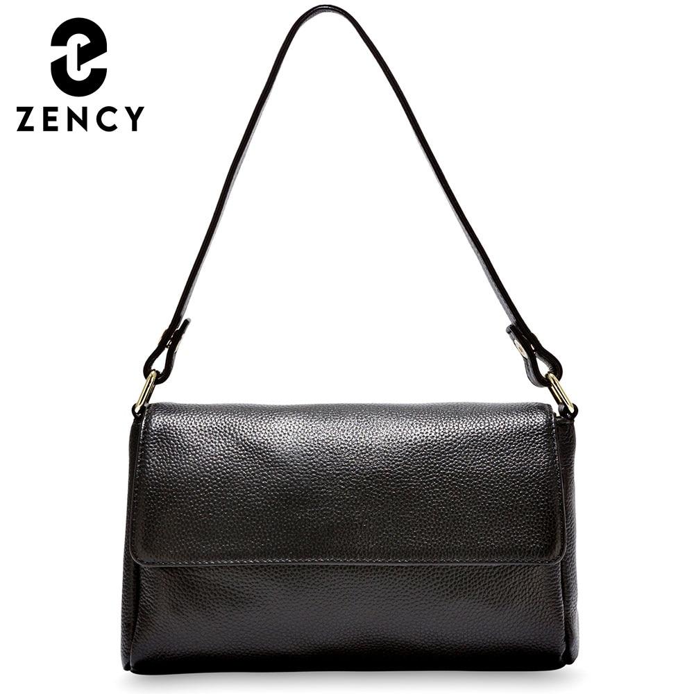 زنسي نموذج جديد المرأة حقيبة كتف أسود أبيض حقيبة يد 100% جلد طبيعي الإناث Crossbody رسول محفظة عالية الجودة حمل