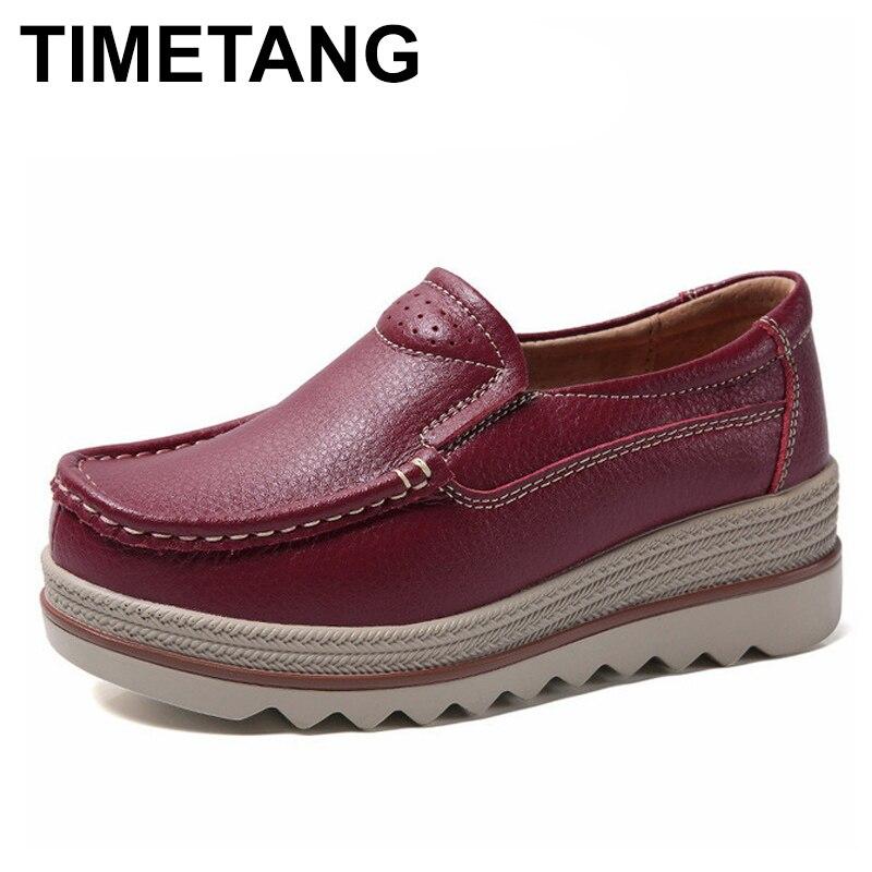 TIMETANG jesień kobiety płaskie buty kobieta platforma trampki mokasyny buty kobieta pnącza bez koronki prawdziwej but skórzany panie