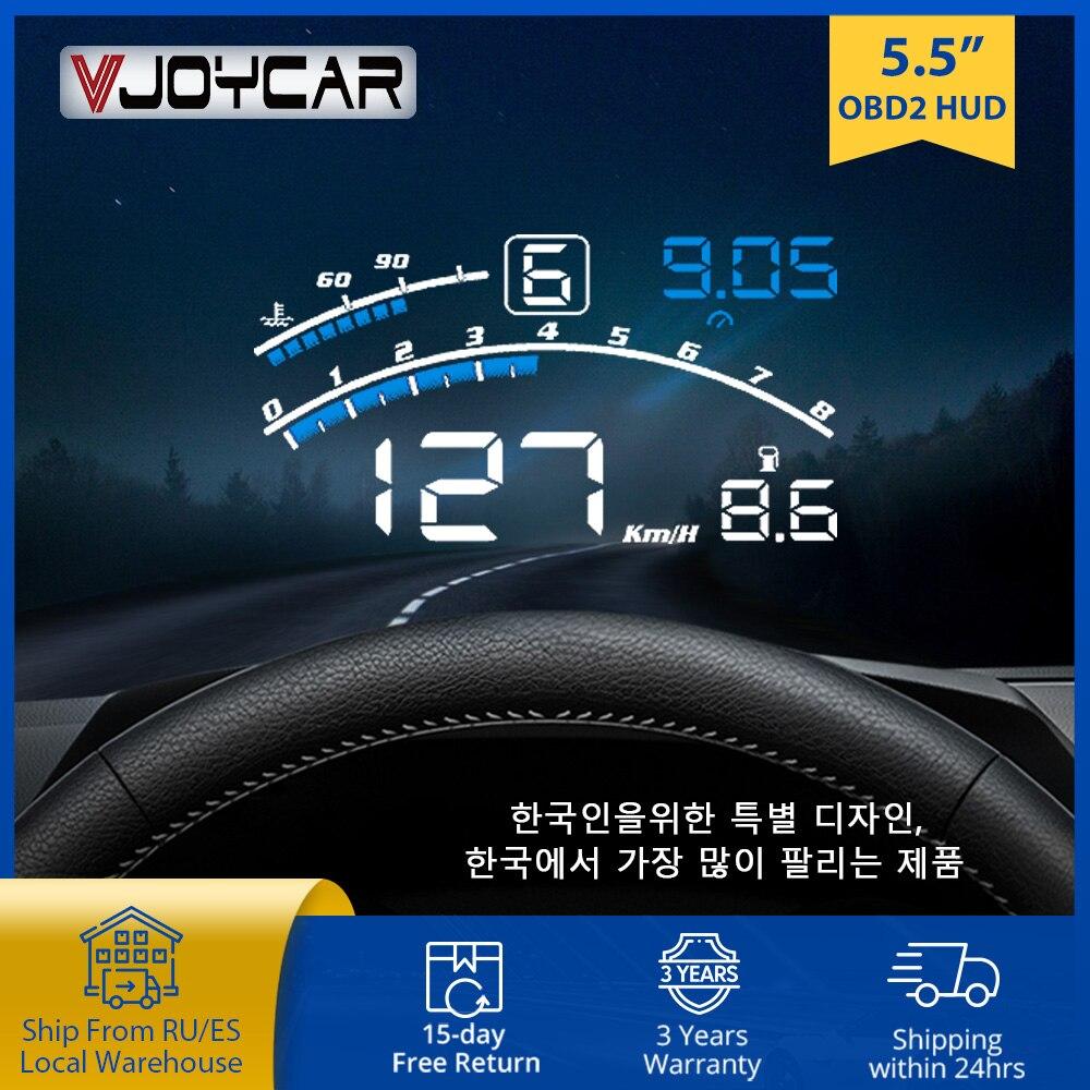 Vjoycar-شاشة عرض أمامية للسيارة V41 ، 5.5 بوصة ، OBDII EUOBD ، زجاج أمامي ، شاشة HUD ، تذكير ، تغيير درجة حرارة الماء RPM KM/H MPH