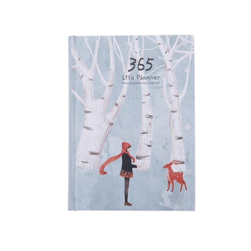 Cuaderno creativo de tapa dura del año 365 días página interior diario planificador mensual diario organizador, BLANCO + ciervo de nieve verde
