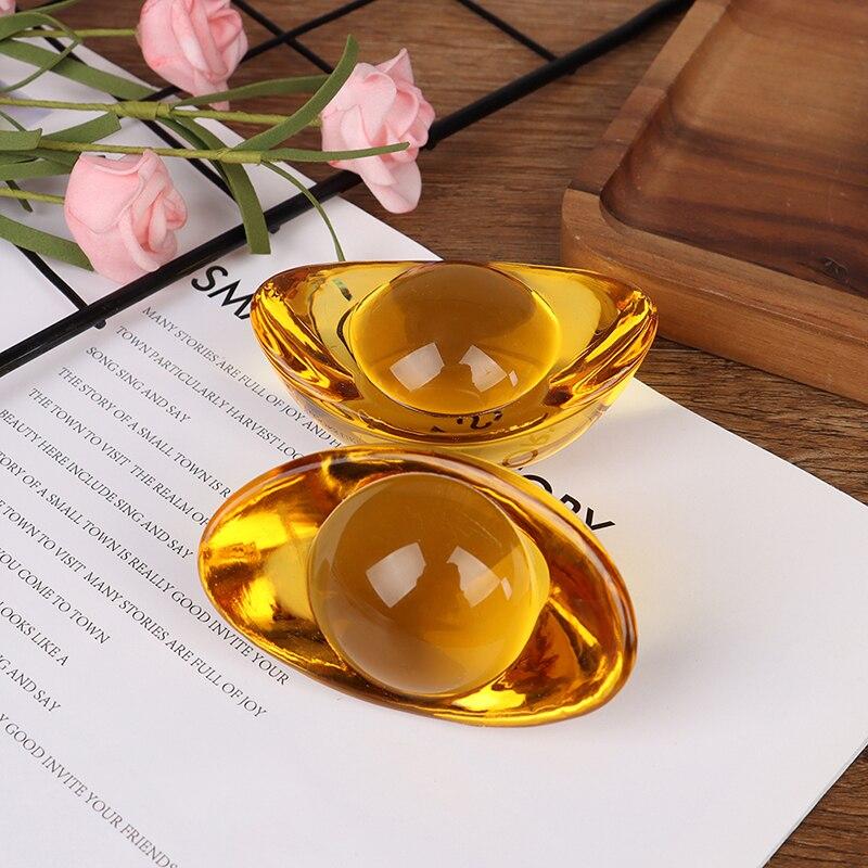 Lingote de citrino vidriado chino Artificial, lingote de oro antiguo Feng Shui chino, mascota de dinero, Fortuna y riqueza 1 unidad o 2 uds.