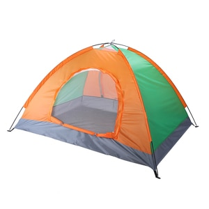 【US Warehouse】2-Person Double Door Camping Dome Tent Orange & Green  (Tent)