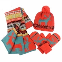 winter knitted hat scarf glove 3 pieces set keep warm christmas pattern present adult winter thick suit