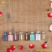 fashion women tniy smoky color quartz lapis purple agates stone perfume oil diffuser bottle pendant necklace jewelry for women