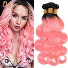 Dejavu Dark Roots Rose Gold Ombre 1/3/4 PCS Hair Bundles 1B Pink Ombre Body Wave Hair Weave Bundles