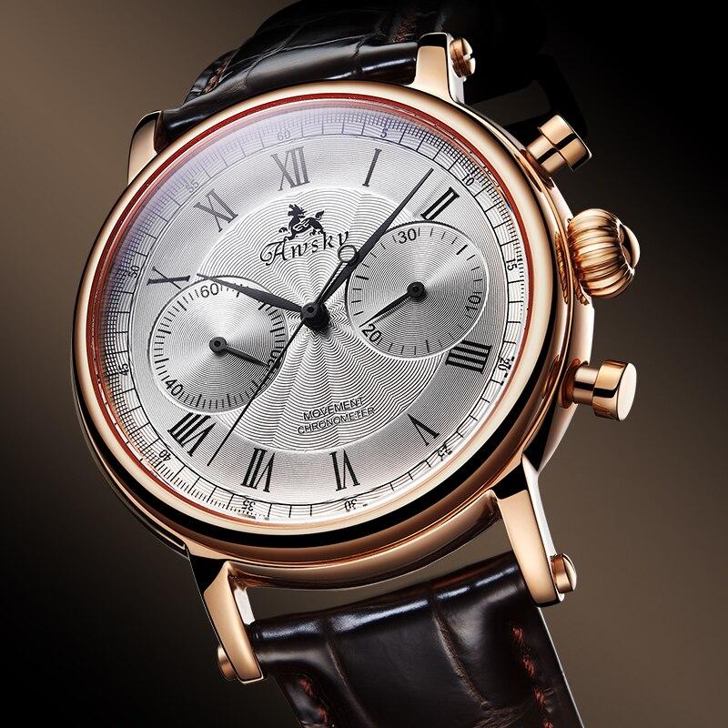 Relógio de Pulso Pulseira de Couro Moda Negócios Casual Masculino Relógios k Ouro Cronógrafo Multifuncional Manual Mecânico 3atm