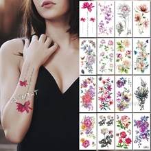 1 шт., темно-розовая простая линия текста, Поддельные Временные татуировки, наклейки с цветами розы, тату на плечо, водонепроницаемые женские...