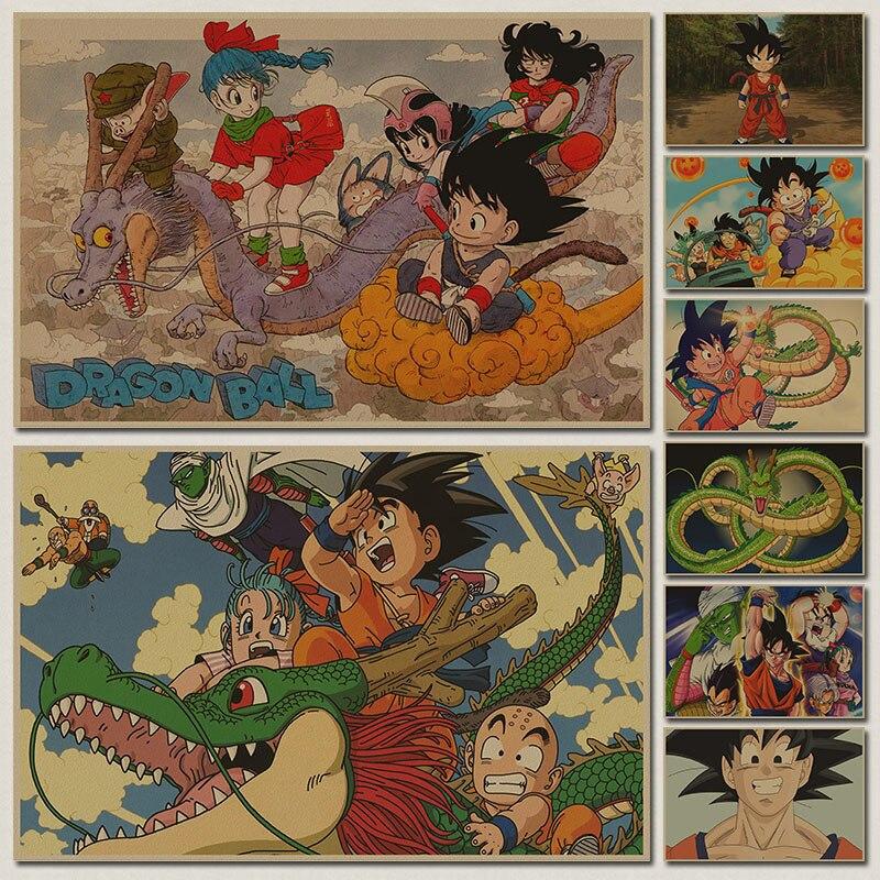 Japan Anime Dragon Ballz Action Figure Poster goku Vintage Retro Kraft Print Sticker Bar Posters Decor Dragon Ball Toys