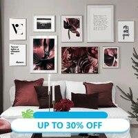 Affiches de peinture sur toile avec Roses fleuries elegantes et amour  tableau dart mural pour decoration de salon  decoration de maison