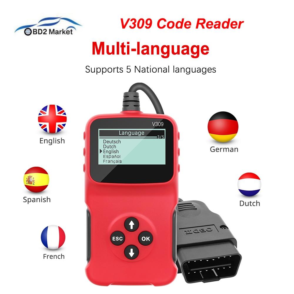 Lector de códigos V309 QR leer/claro código de error I/M DTC OBD2 lector de código OBDII/EOBD OBD 2 OBD2 escáner de diagnóstico de coche herramienta automática PK ELM327