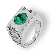 Hommes mode argent couleur vert cristal anneaux hommes bague de mariage anneaux bague de fiançailles bijoux Cool Biker anneau accessoires