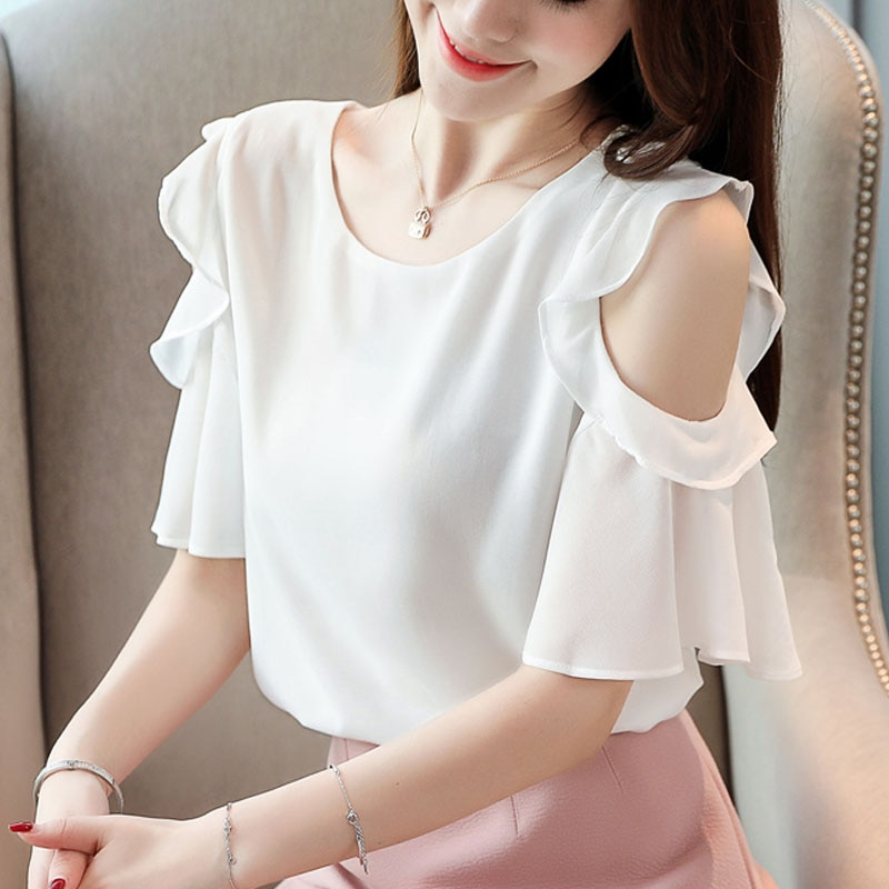 Shirts For Women Clothing 2020 Ladies Tops Short Sleeve Solid Blouse Fashion Korean O-Neck Black Blusas Female White 0020