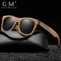 gm zebra wooden sunglasses mens and womens handmade glasses driving fishing sunglasses polarized uv400 with leather box