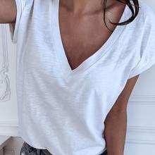GAOKE Weiß Sommer T Shirt Frauen Beiläufigen Frauen T Shirts Mit V-ausschnitt T-shirt Eiter Größe XL Kurzarm T-shirt Damen Frauen kleidung
