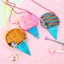 Lovely Girls Ice Cream Coin Purse Sequin Children's Mini Shoulder Crossbody Bags Cute Boys Kids Acce