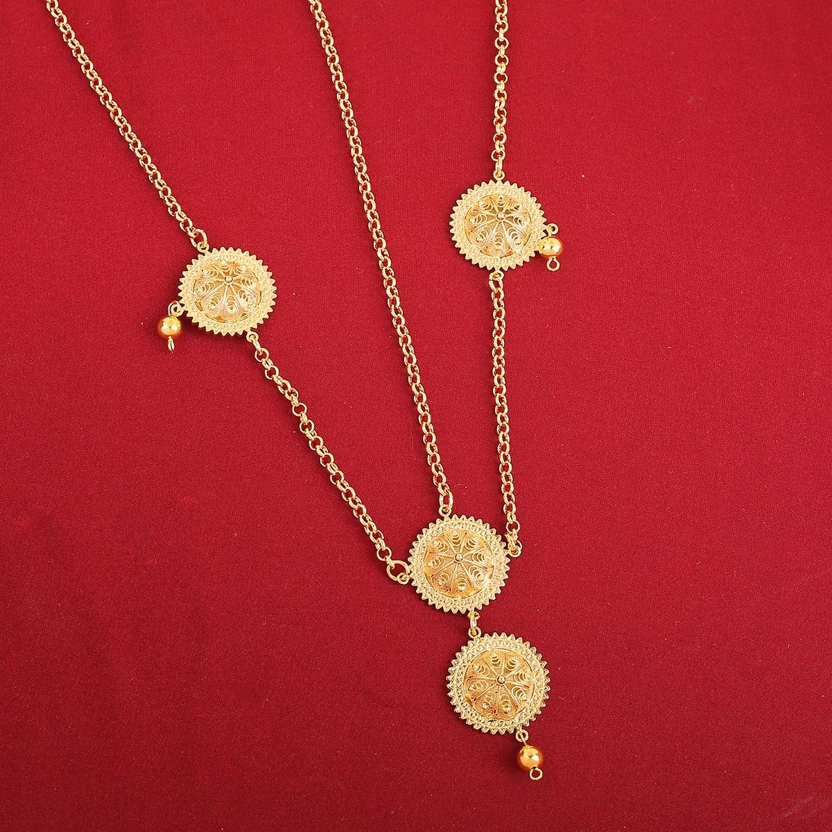 Cadena de cabeza etíope cabello color dorado pieza Habesha Medusa cabeza pieza boda joyería