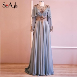 SoAyle A-Line Prom Dresses Graceful vestidos de gala Long Sleeves Muslim Evening Dresses Arabia Fashion