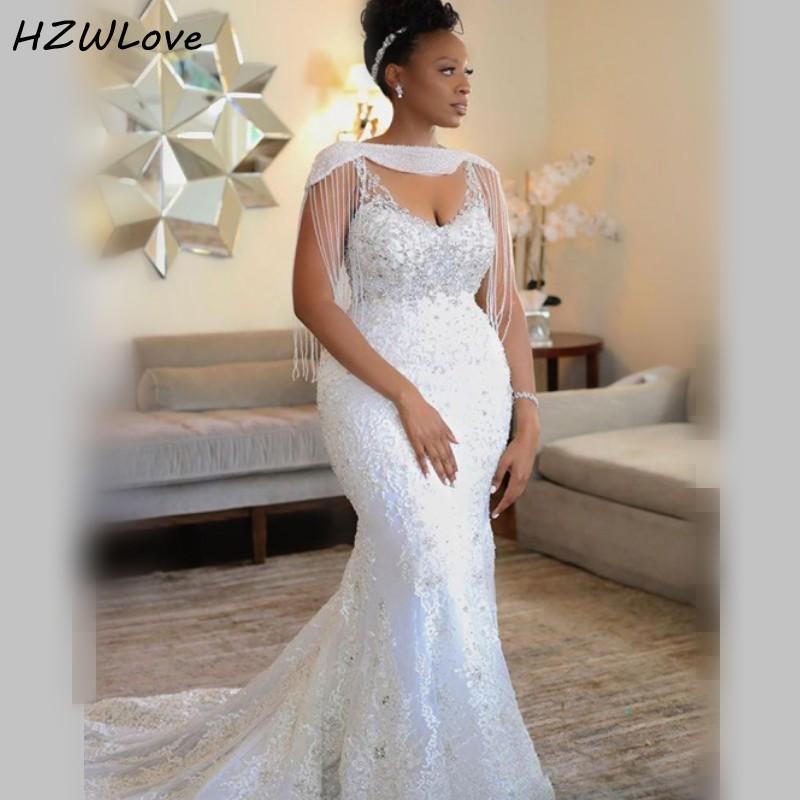 فستان زفاف حورية البحر من الدانتيل الأفريقي ، مقاس كبير ، مع شرابات وترتر ، ياقة على شكل V عميقة