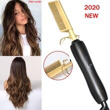 Peigne électrique respectueux de lenvironnement en alliage de titane bigoudi peigne chaud redressage cheveux fer à friser lisseur peigne