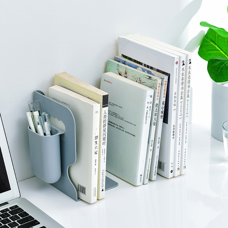Retractable Bookends For Shelves Book Support Stand Adjustable Bookshelf With Pen Holder Desk Organizer Office Accessories