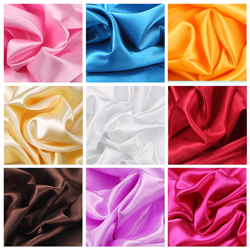 100cm*150cm 16Colors Silks and Satins Fabric Satin Color Butyl Silk Gift Box Lining Lieb Shiny fabrics Clothing Sewing Plain