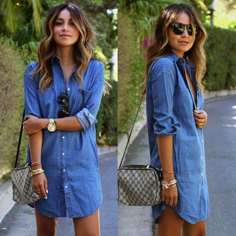 Autumn Fashion Women Blue Denim Jeans Dress V-neck Button Long Sleeve Casual Mini Dress Stylish Female Slim Dresses Plus Size