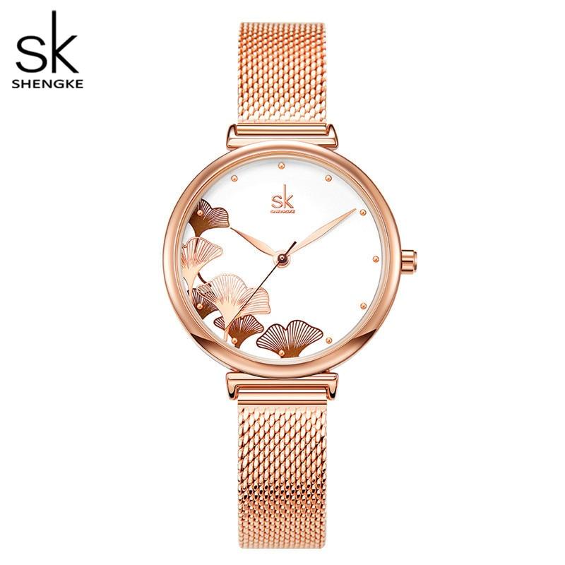 Женские часы Shengke, кварцевые часы с большим цветком и стальным ремешком, водонепроницаемые
