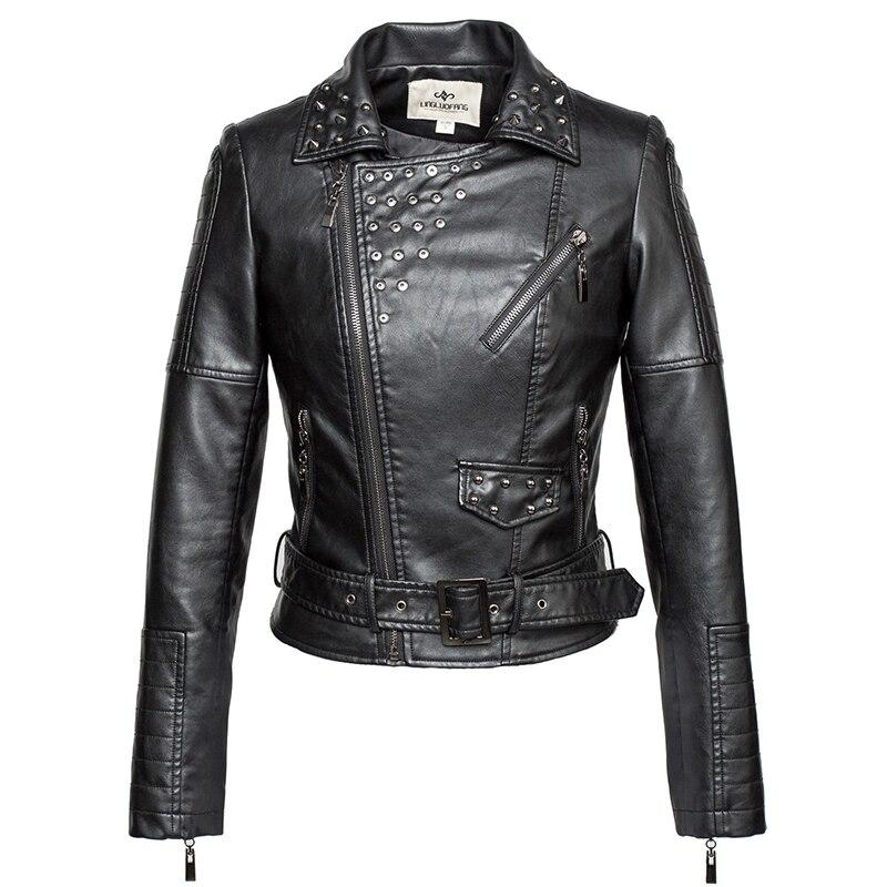 الموضة العلامة التجارية الشرير نمط برشام الديكور بولي leather سترة جلدية الإناث الشارع صديقة للبيئة غسلها سترة جلدية F1085 دروبشيب