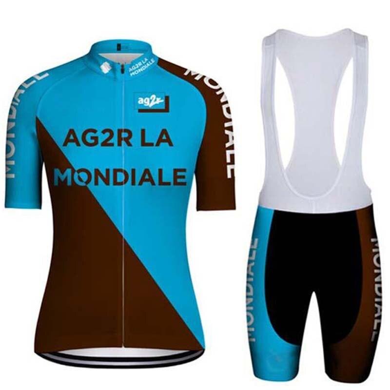 2019 Tour AG2R Hombre Ropa ciclismo ropa kits verano manga corta babero pantalones cortos de secado rápido MTB racing maillot ciclismo conjunto