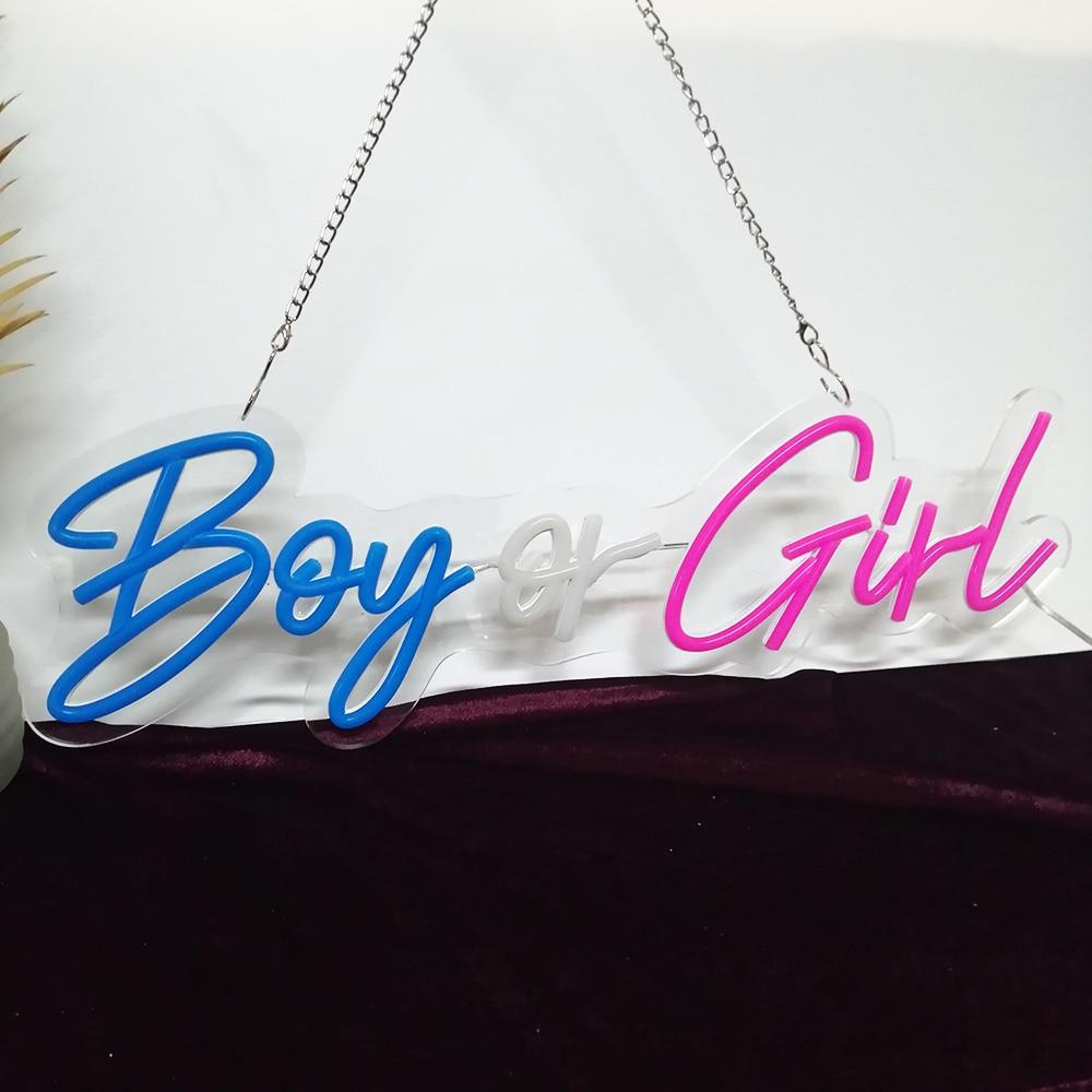 Custom Neon 56x20cm Boy or Girl Led Light Party Flex Transparent Acrylic Oh Baby Neon Light Sign Wedding Party Decorati enlarge