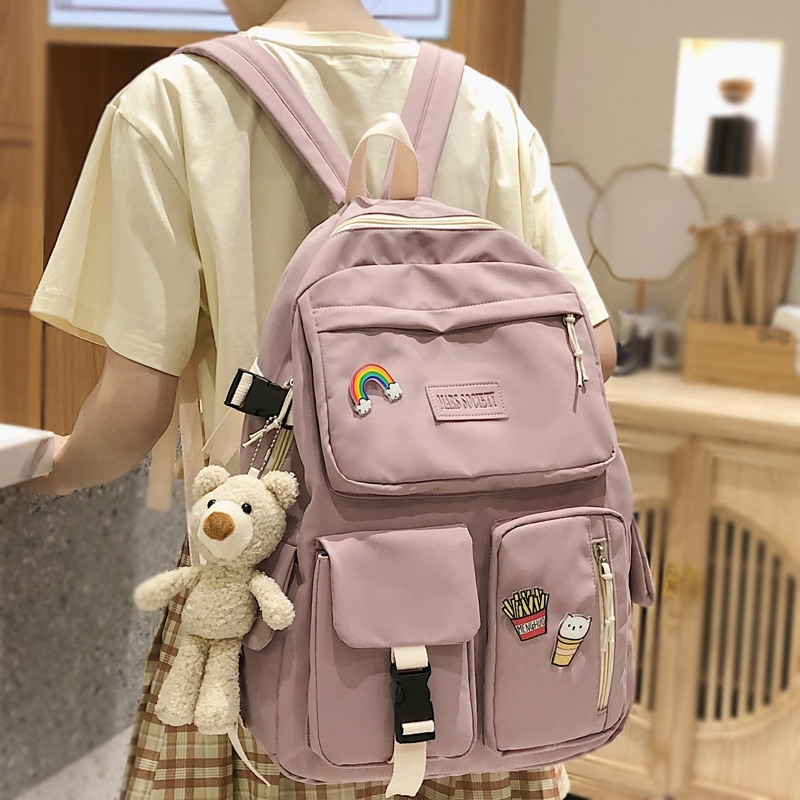 DCIMOR متعددة جيب مقاوم للماء النايلون المرأة على ظهره سعة كبيرة حقيبة مدرسية للمراهقات حقيبة سفر كتاب جميل Mochila