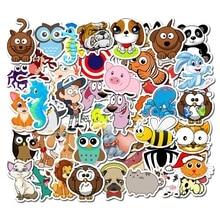 50 unids/lote de pegatinas de animales de dibujos animados para niños, juguete, equipaje, monopatín, teléfono, ordenador portátil, Moto, bicicleta, pared, guitarra