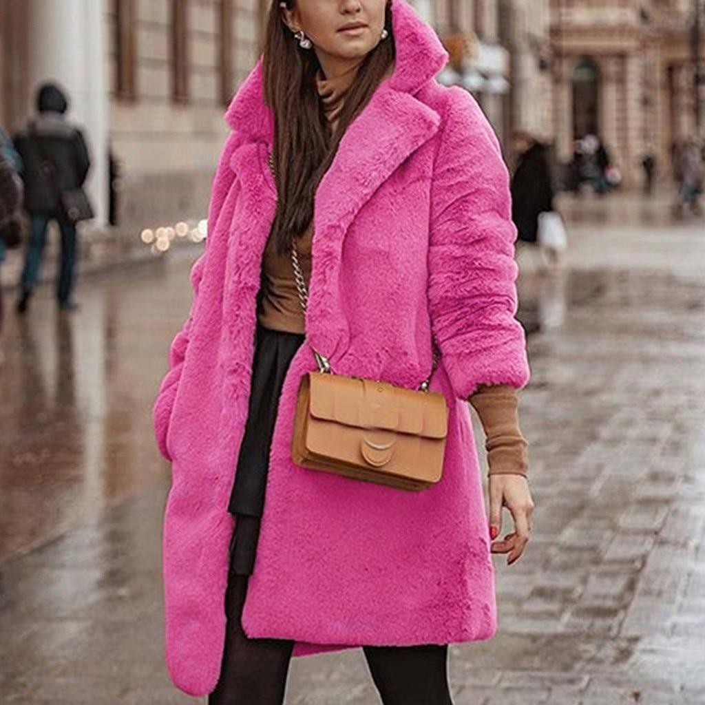 Inverno longo casaco feminino rosa inverno teddy bear casaco de pele do falso jaquetas senhoras quente jumper outwear2019 #3