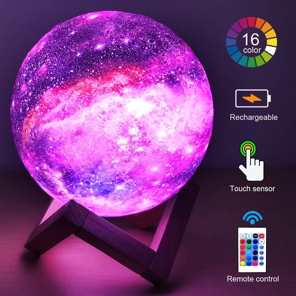 ZK20 3D Printing Moon Lamp Galaxy Moon Light Kids Night Light 16 Color Change Touch and Remote Contr