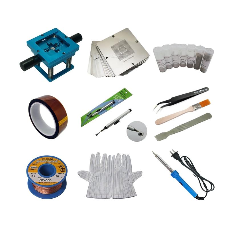 Bga Reballing Station tin Solder Ball Tape 90mm Stencils Desoldering Wick WL-3015 Pen ESD Tweezers Brush Scraper Glove