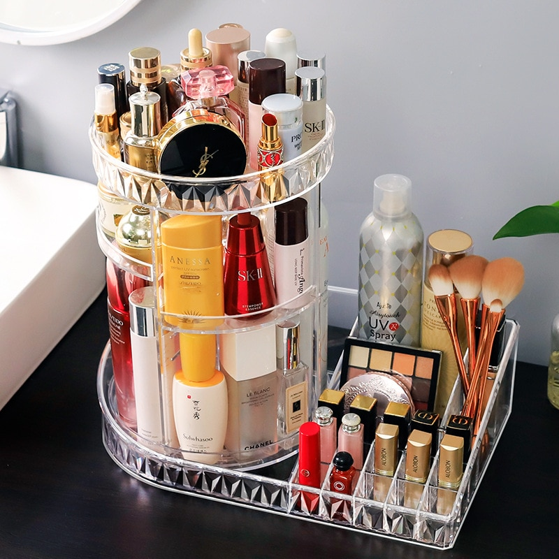 L صندوق تخزين مستحضرات التجميل سطح المكتب شفاف الدورية أحمر الشفاه فرشاة للمكياج عنبر خلع الملابس الجدول العناية بالبشرة الرف
