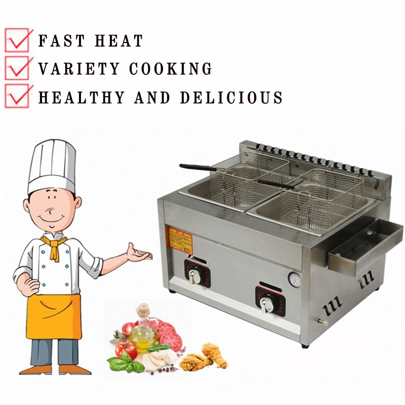 Commercial Gas Deep Fryer Double Two Tanks Noodles Cooker Steamer Energy Saving Kitchen French Fries Machine