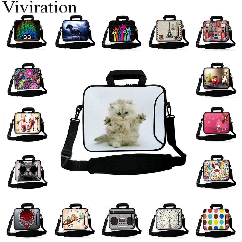 "Bolsos para portátil de hombro 10 ""Tablet 10,1 12 13,3 14 15 15,6 17 maletín portátil Chromebook lindo gato blanco bolsa de mensajero"