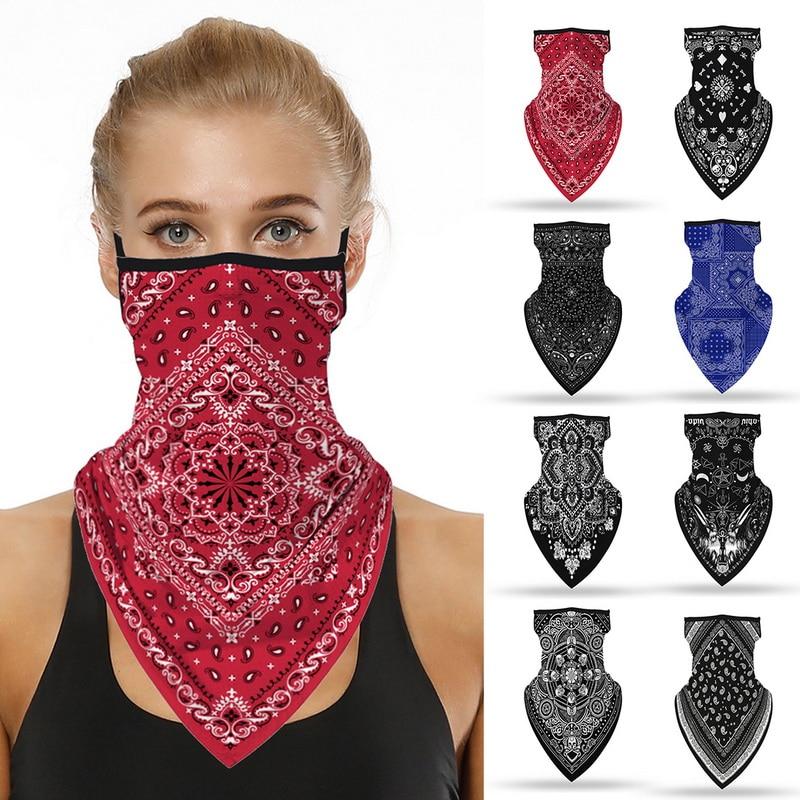 Unisex Men Women Face Scarf Bandana Ear Loops Face Balaclava Neck Gaiters Digital Printed Windproof