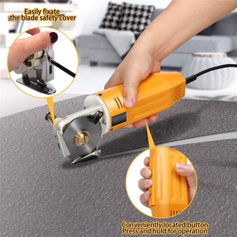 220V Round Knife Cloth Cutting Machine Portable Electric Cloth Rotary Cutter Leather Paper Fabric Sewing DIY Arts Crafts Tool electric cloth knife 220v 110v 170w fabric cutting tools leather cloth electric cutter machine blade power tools cutting saws