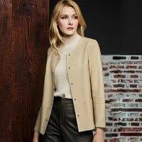 100 sheepskin jacket leather coat casual style o neck long sleeves solid pocket jacket classic design new fashion