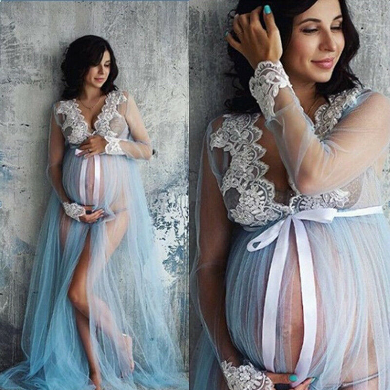 Goocheer Lace V-Neck Hollow out Maternity Dresses For Photo Shoot Pregnant Woman Clothes Long-length