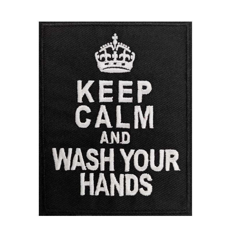 Mantén la calma y lávate las manos bordado planchar y coser en apliques de parche