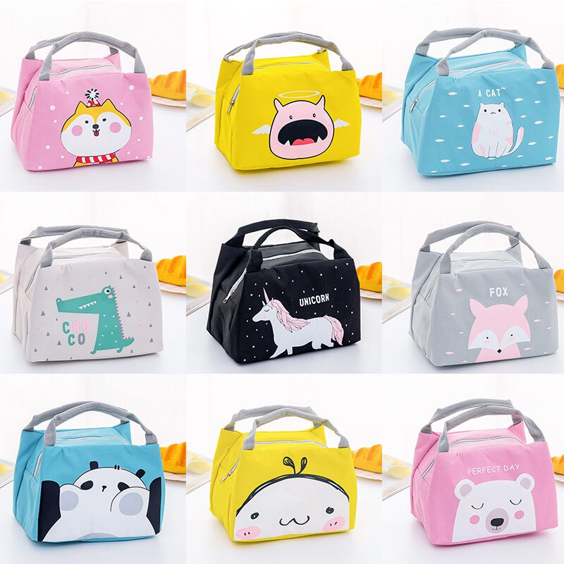 Cartoon Animal Lunch Bag Tote Thermal Food Bag Women Kids Lunchbox Picnic Supplies Insulated Cooler Bags