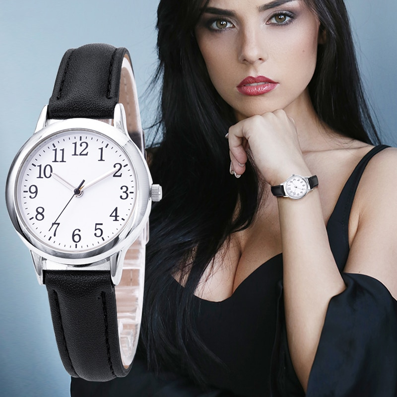 Japan Quartz Movement Arabic Numbers Easy Reading Leather Straps Lady Women Watch Candy Color Simple Dial enlarge