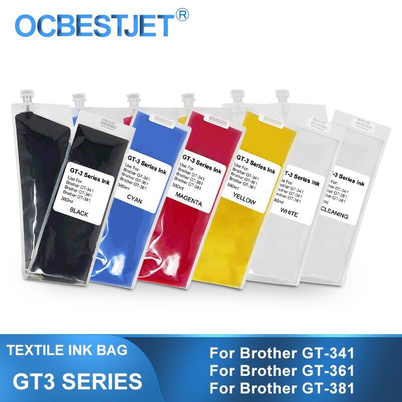 GT-3 DTG النسيج الحبر استبدال الحبر حقيبة لأخيه GT-341 GT-361 GT-381 GT3 سلسلة مباشرة إلى طابعة الملابس (6 لون اختياري)