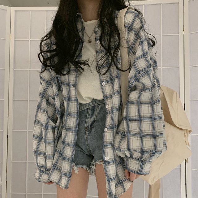 blouse trueprodigy blouse Collar White Shirt Button Up Casual Tops Oversized Women Vintage Plaid Blouse Lantern Sleeve blouse party blouse women fashion