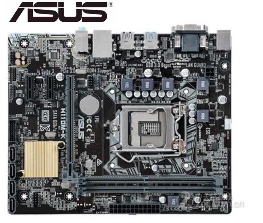 تستخدم سطح اللوحة اللوحة الأصلية ل ASUS H110M-K LGA 1151 DDR4 I3 I5 I7 USB2.0 USB3.0 32GB