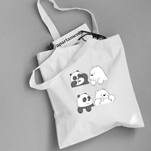 Cute Animals Three Bears Print Canvas Tote Bag Eco Shopping Bag Daily Use Foldable Handbag Large Capacity Canvas Tote for Women